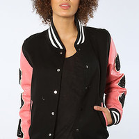 The NYC Letterman Jacket in Black x Pink