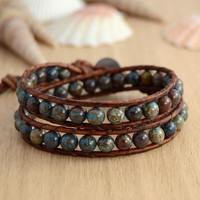 Rustic blue brown double wrap bracelet