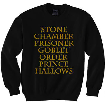 Harry Potter Book Movie Titles Inspired Gold Print Sweatshirt T-shirt