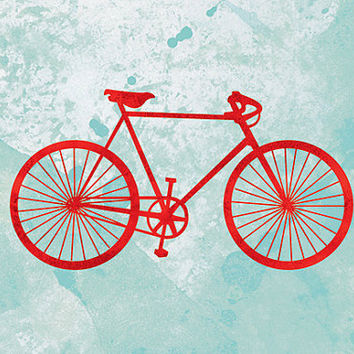 Bicycle Art Bike Print - 12x18 (red and turquoise)