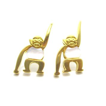 Adorable Monkey Chimpanzee Animal Themed Stud Earrings in Gold | DOTOLY