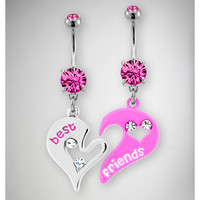 14 Gauge Pink and Silver Best Friend Heart Banana Set