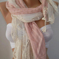 Romantic Pink  /  Elegant - Shawl / Scarf with Lace Edge.