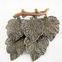 Antique Leaves Pin, Dangling Leaves, Brass Leaf on Stem, Vintage Art Deco Brooch, Fall Leaf Pin