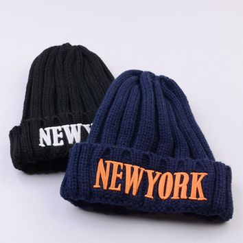 Fashion Letter Embroidery Unisex Knit Hat Couple Winter Accessories