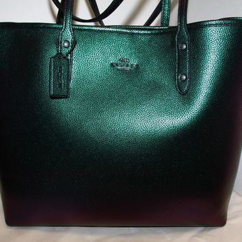 BRAND NEW WITH TAG COACH HOLOGRAM LEATHER ZIP CITY TOTE SHOULDER BAG 22550