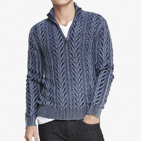BLUE ACID WASH ZIP-UP MOCK NECK SWEATER from EXPRESS