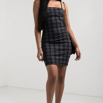 AKIRA Thin Strap Straight Neck Bodycon Plaid Check Mini Dress in Plaid
