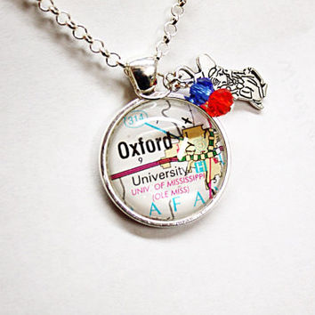 Ole Miss Colonel Reb University of Mississippi necklace, map of Oxford, MS glass pendant with Colonel Reb charm and beads, Hotty Toddy!