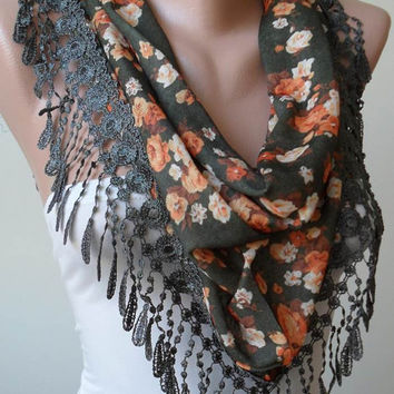 Green and Orange Flowered Scarf with Green Trim Edge - Triangular