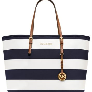 MICHAEL Michael Kors Handbag, Jet Set Stripe Medium Travel Tote - Handbags & Accessories - Macy's