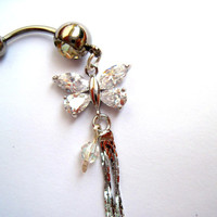 Navel Belly Button Ring Clear Crystal Butterfly Dangles Barbell Naval