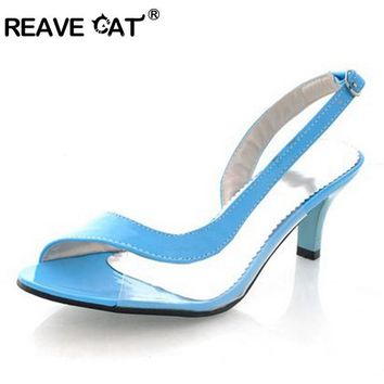 REAVE CAT Big size 34-43 Fashion Vintage Mid Heel Gladiator Less Platform Open toe Sa