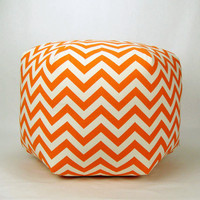 "Chevron Pouf Ottoman - 24"" Pouf Pillow in Orange and Natural Chevron Zig Zag Print"