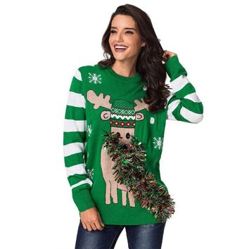 Striped Sleeve Ribbon Reindeer Christmas Sweater