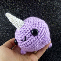 Big Narwhal - Pastel Purple - Ready to Ship - Amigurumi Crochet Plushie