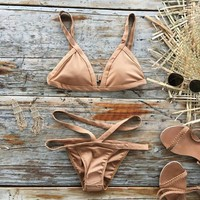 Khaki Bandage Bikini Set High Swimwear Women Sexy Beachwear Female Triangle Bathing Suit Swimsuits