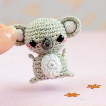 Crochet koala plush, Mini amigurumi koala, Mini animals doll, Kawaii crochet stuffed animals plushies, Kawaii amigurumi crochet animals