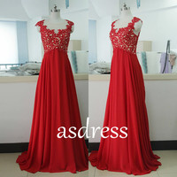 Red Lace Prom Dress Homecoming gown Pageant GOWNS Red Long Wedding Dress Cap Sleeve Bridal Lace Gown Chiffon Bridesmaid dress Custom US size