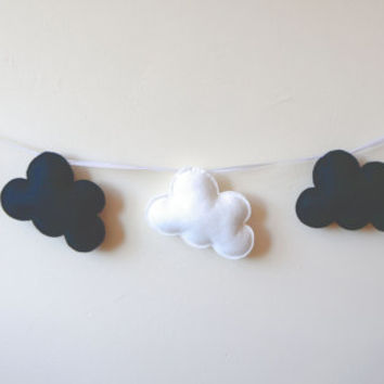 Black and White Cloud Garland, Cloud Banner, Cloud Bunting, nursery decor, photo prop, baby shower gift, new baby, black white nursery