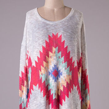 Inca Tunic - White, Pink and Mint