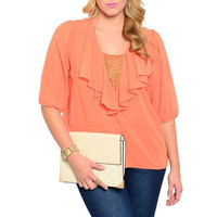 Plus Size Ruffle Chiffon Sheer Blouse in Orange