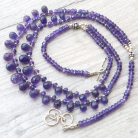 Amethyst Necklace, Double Strand Tear-drop Purple Amethyst, Statement February Birthstone Glamorous Bijoux, Amethyst Jewelry, OOAK  Necklace