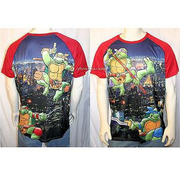 Licensed cool Teenage Mutant Ninja Turtles Sublimation Slinky Fabric Men's T Tee Shirt TMNT