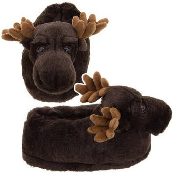 Moose Slippers for Women Large