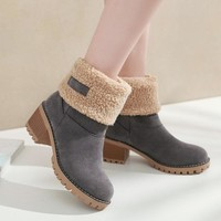New 2018 Women Boots Winter Shoes women warm fur Snow Boots Non-slip Square heel platform Ankle Boots for women big size 35-43