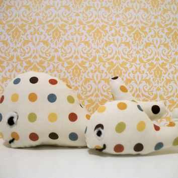 Whales Plush Polka Dot- Mama and Baby