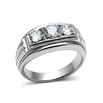 Fearless Man - Men's Stainless Steel CZ Statement Ring