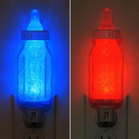 Infant Baby Bottle Night Light Blue or Red Boy Girl Nursery Shower Gift Lamp