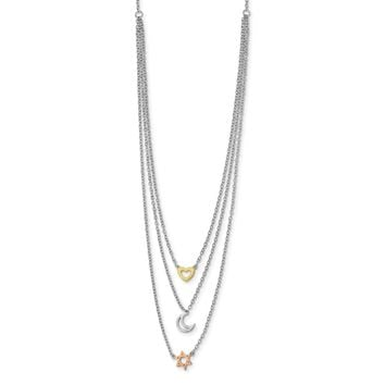 Sterling Silver Rhodium-plate Gold & Rose-tone Sun Moon Star Necklace QG4387