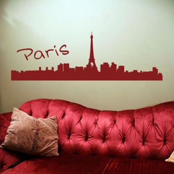 Paris France City Skyline Decal Sticker Eiffel Tower Graphic Art Big