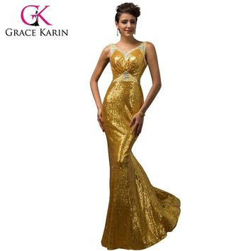 Grace Karin Mermaid Evening Dress Emerald Green Pink Golden Sequined  Stunning Formal Long Party Gowns Luxury 9f0b8e027