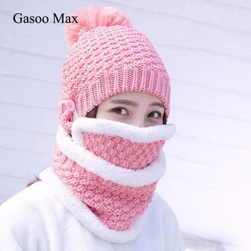 New Thick Plus Cashmere Warm Beanies& Ring Scarf& Masks hat scarf Autumn Winter Women's Knit Hat Cotton Ball Cover Collar