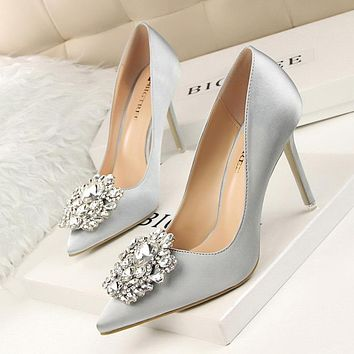 New 2017 Spring Autumn Women Pumps Elegant Rhinestone Silk Satin High Heels Shoes Sexy Thin Pointed Single Shoes 7 Color