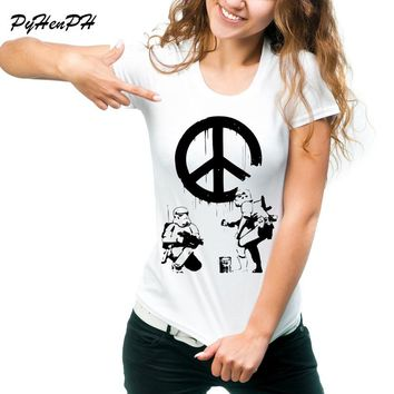 Star Wars T Shirt Women Banksy Troopers / Hipster Trooper T-Shirt For Lady O-neck Tee Shirt Femme Women Clothing