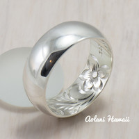 Hawaiian Ring - Hand Engraved Sterling Silver Barrel Ring (4mm - 8mm width, Barrel style)