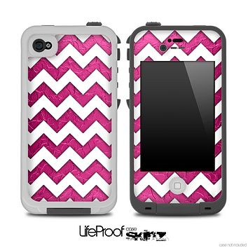 Pink Stamped and White Chevron Pattern for the iPhone 5 or 4/4s LifeProof Case