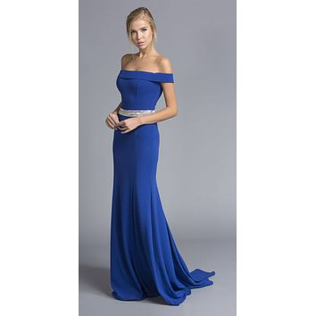 CLEARANCE - Royal Blue Off-the-Shoulder Long Formal Dress with Train (Size Medium)