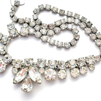 Vintage Weiss Clear Rhinestone Necklace