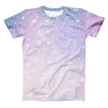 The Pink and Blue Grungy Abstract ink-Fuzed Unisex All Over Full-Printed Fitted Tee Shirt