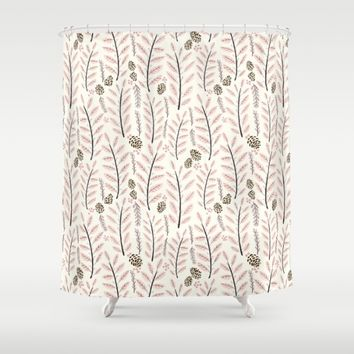 Pink Woodland Pattern Shower Curtain by Noonday Design