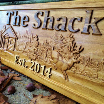 Personalized Wood Sign Custom Carved Cabin Gift Man Cave Wedding Family Last Name Established Camp Lake House Décor Hunt Woods Deer Plaque