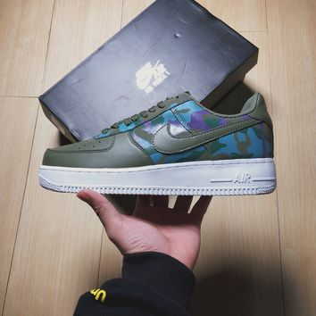 Nike  Air  Force  1 AF1  Green Camo Basketball  Sneakers