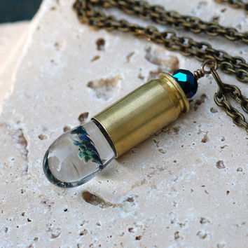 Glass Bullet Casing Necklace Boro Lampwork Brass Pendant Jewelry - The Dirty Bullet