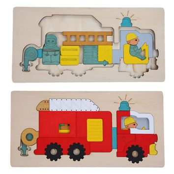 Kids Wooden Toys Multilayer Jigsaw Puzzle Toy Early Education Toys For Children 3D Puzzle Story Fire Fighting Truck Wood Toy