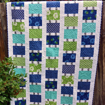 Connecting Tiles Twin Coverlet or Throw Quilt In Blues and Greens
